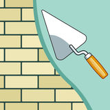 Plastering the brick wall Stock Photography