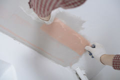 Plastering a ceiling Royalty Free Stock Photo