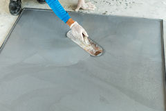 Plastering mixed cement Stock Photo