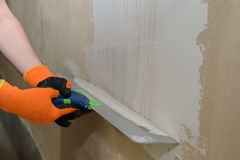 Plastering of the plastered wall Stock Image