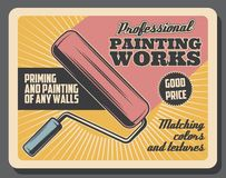 Painting works renovation, vector paint roller vector illustration