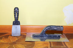 Plastering tools in the yellow room Royalty Free Stock Image