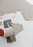 Plastering using a trowel Royalty Free Stock Photo
