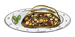 Plasterka jabłczany strudel ilustracji