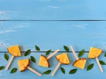 Plasterka popsicle ananasowy mieszkanie nieatutowy obraz royalty free