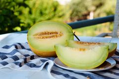 Plasterki świeży miodowy melon na białym drewnianym stole obraz royalty free