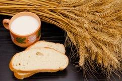 Plasterki biały chleb, kubek dojni i pszeniczni ucho na czarnym stole, vidsverhu, zakończenie Obrazy Stock