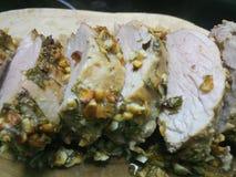 Plasterki gorący gotujący wieprzowiny mięso obrazy royalty free