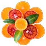 Plasterki krwionośna pomarańcze, mandarynka i cytryna odizolowywająca, obrazy stock