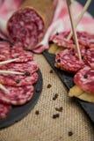 Plasterki leczący salami na chlebie fotografia royalty free
