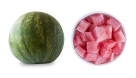 Plasterki odizolowywający na białym tle arbuz Słodka i soczysta owoc z kopii przestrzenią dla teksta zdjęcie stock