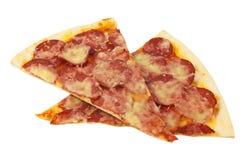 Plasterki serowej pizzy zakończenie odizolowywający na białym tle Zdjęcia Royalty Free