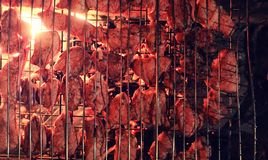 Plasterki siekający mięso w kratownicie dla kulinarnego grilla na charco Zdjęcie Royalty Free