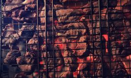 Plasterki siekający mięso w kratownicie dla kulinarnego grilla na charco Zdjęcie Stock