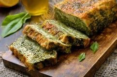 Plasterki szpinaka chleb Obrazy Stock