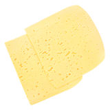 Plasterki Szwajcarski ser z dziurami odizolowywać na bielu Obraz Royalty Free
