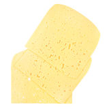 Plasterki Szwajcarski ser z dziurami odizolowywać na bielu Zdjęcie Royalty Free