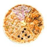 Plasterki tradycyjna Włoska wyśmienicie pizza z różnym wierzchołkiem fotografia stock