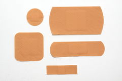 Plasters. A wide range of adhesive plaster on white background Stock Photo