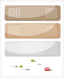 Plasters A. A set of patches and pills. Illustration Royalty Free Stock Photography