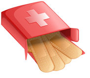 Plasters in a red box Royalty Free Stock Images