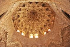 Plasterwork decoration in the Dome of the Room of Two Sisters Sala de las Dos Hermanas. Alhambra of Granada, Andalusia, Spain Stock Photography