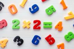 Plastic aantallen met wiskundeformule in een midden Royalty-vrije Stock Foto