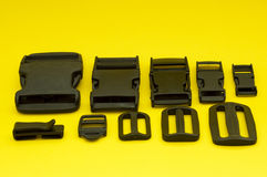 Plastic accessories. Useful for bags, rucksacks and purses Royalty Free Stock Image