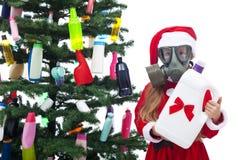 Plastic afvalkerstmis - milieuconcept royalty-vrije stock afbeeldingen