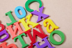 Plastic alphabet letters Stock Photos