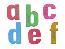 Plastic alphabet letters abcdef Royalty Free Stock Image