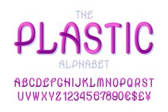Plastic alphabet with numbers and currency signs in fashionable vibrant colors style.  vector illustration
