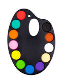 Plastic art palette with paint Stock Image