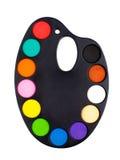 Plastic art palette with paint Stock Image