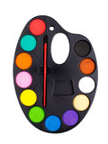 Plastic art palette with paint Stock Photography