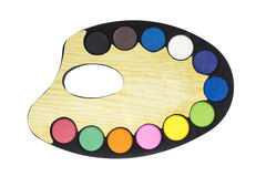 Plastic art palette with paint Royalty Free Stock Photos