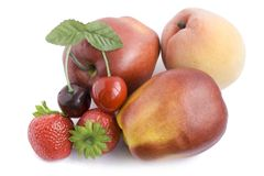 Plastic artificial fruits Royalty Free Stock Photography