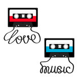 Plastic audio tape cassette with tape word Love Music. Retro icon set. Recording element. 80s 90s years. Red Blue color template. Flat design. White background Stock Photos