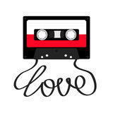 Plastic audio tape cassette with tape word love. Retro music icon. Recording element. 80s 90s years. Red color template. Flat desi Royalty Free Stock Photo