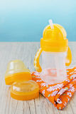 Plastic baby bottle Stock Photo
