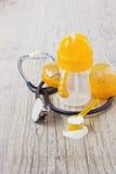 Plastic baby bottle Stock Photo