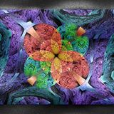 Plastic colorful fractal artwork on leather stock photos