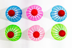 Plastic Badminton shuttlecock isolated,Top view Royalty Free Stock Images
