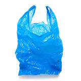 Plastic bag. Blue empty plastic bag isolated over white background