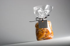 Plastic bag of apricots with blank label and copy space Stock Photo