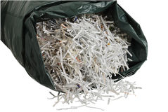 Plastic bag filled with shredded paper Royalty Free Stock Photo