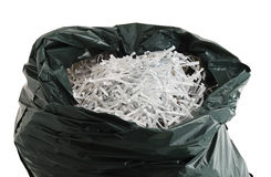 Plastic bag filled with shredded paper Royalty Free Stock Photography