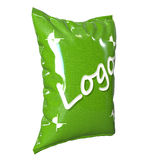 Plastic bag for food, green. On a white background Royalty Free Stock Photography