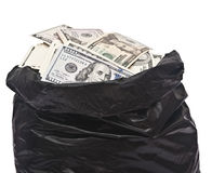 Plastic bag full of money Royalty Free Stock Photos
