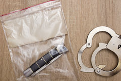 Plastic bag with a knife Royalty Free Stock Photo